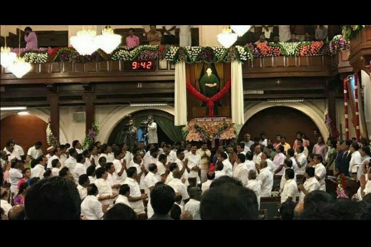 Jayalalithaa portrait unveiled in TN Assembly DMK Congress boycott