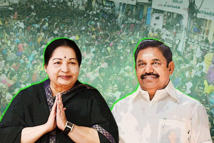 J Jayalalithaa announced several promises in the run up to the 2016 assembly elections Jaya and EPS in the backdrop of the campaign crowd