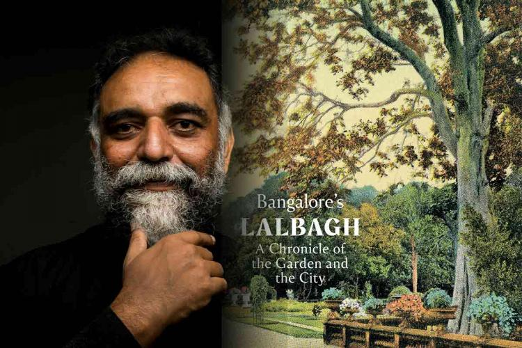A collage of Suresh Jayaram and the cover of his book  Bangalore's Lalbagh – A Chronicle of the Garden and the City