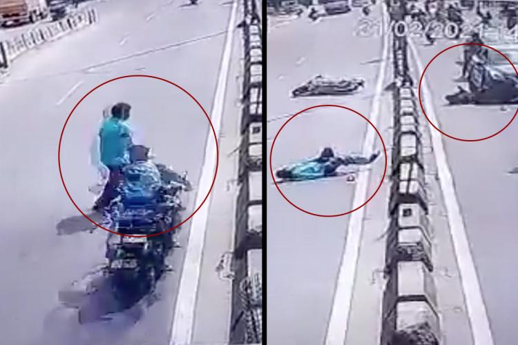 Screengrab shows pedestrian and motorist flung across road in accident in Hyderabad