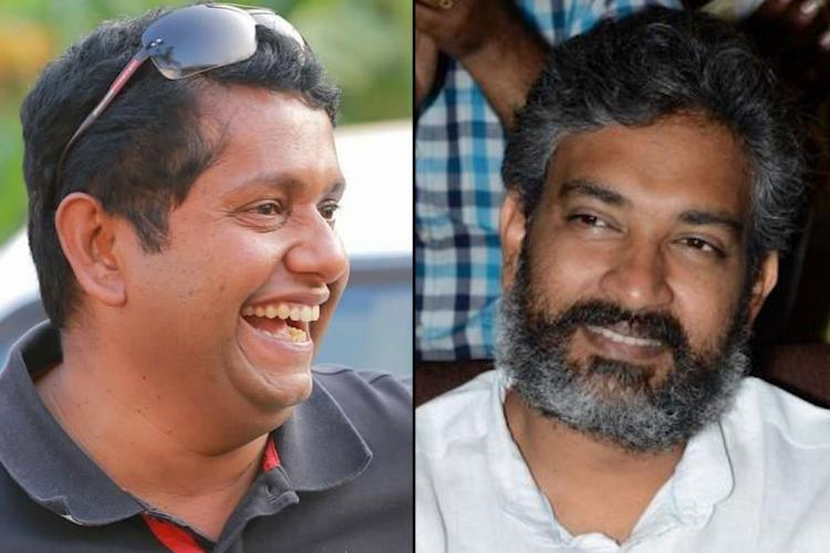 Filmmaker Jeethu Joseph on the left and director SS Rajamouli on the right