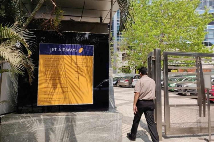 The sign of Jet Airways at its office in Mumbai