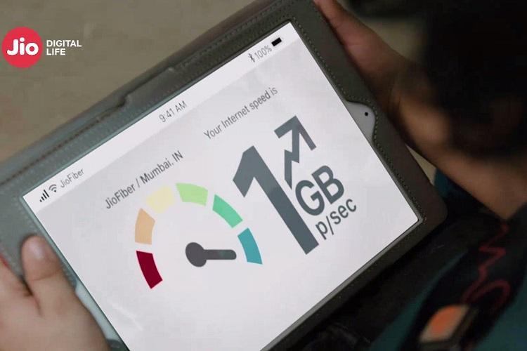 A tablet screen showing JioFiber