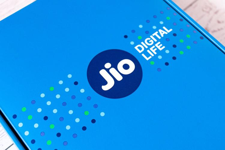 The logo of Reliance Jio on the box of its fibre
