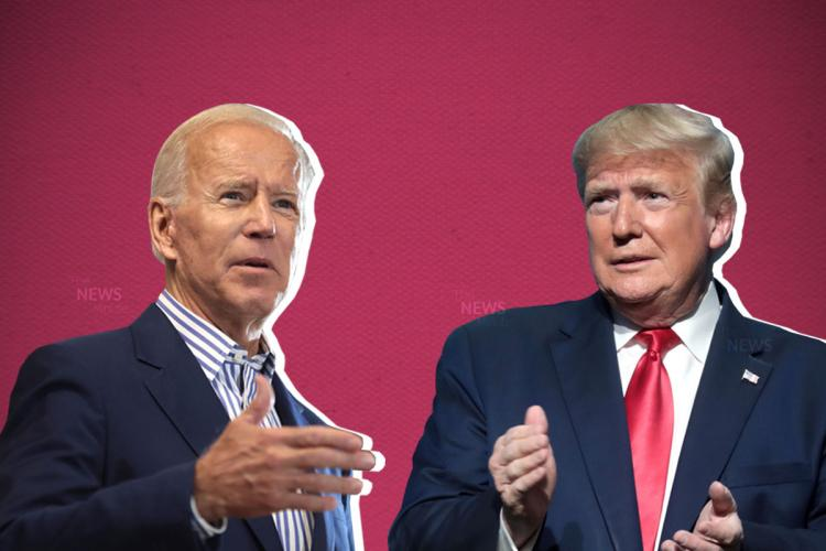 Joe Biden with his hand outstretched Donald Trump with his hand in a fist