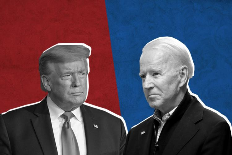 Collage of Donald Trump on the left against a red background and Joe Biden on the right against a blue background
