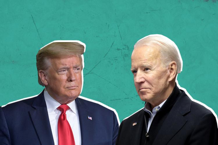 Collage of Donald Trump on the left looking at Joe Biden on his right against a blue backdrop