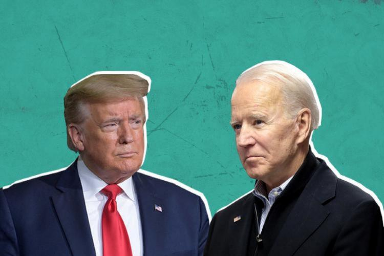 Images of Joe Biden and Donald Trump to go with a US Polls 2020 story