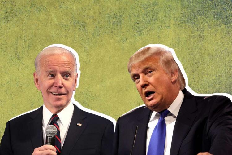 A collage of Joe Biden and Donald Trump