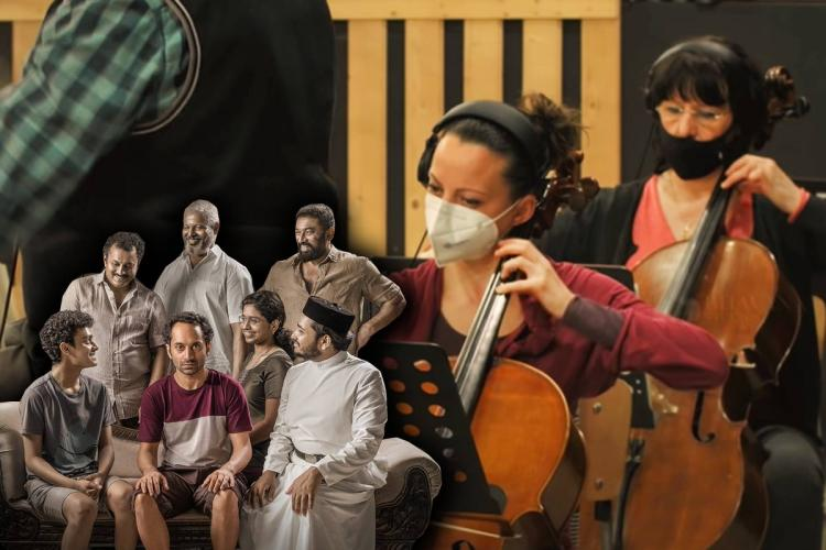 Collage of poster of Joji with all the family members together and of the orchestra composing the soundtrack showing two women with their cellos