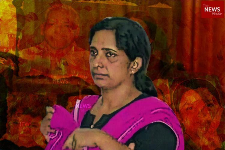 A posterised image of Jolly who is wearing a balc kurti and a purple dupatta She wears a worried look in the image Faded pictures of her other victims are seen in the background