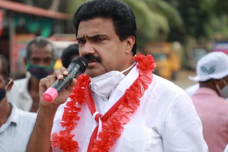 Jose K Mani speaking at a campaign in Pala
