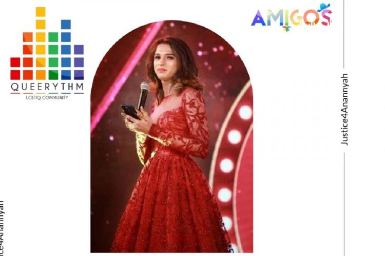 A poster showing Anannyah in a red gown with a rainbow logo saying Queerythm on a white backgrond and Justice for Anannyah written on the side
