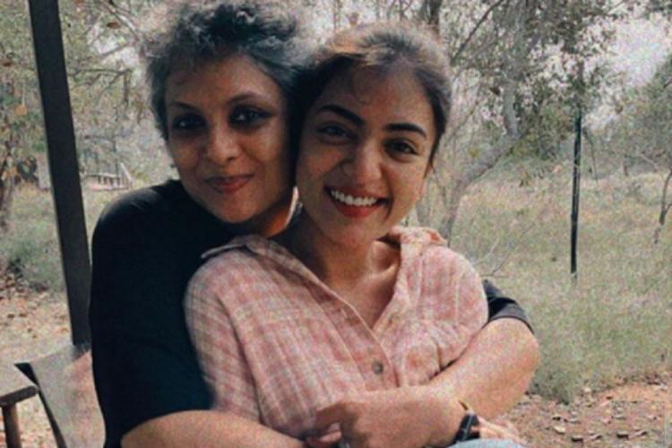 Jyothirmayi in black holds Nazriya in pink