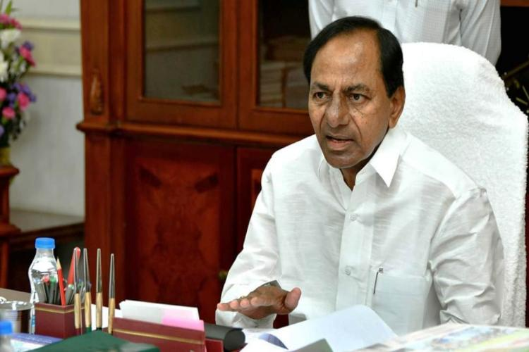 Telangana Chief Minister K Chandrasekhar Rao addresses a meet