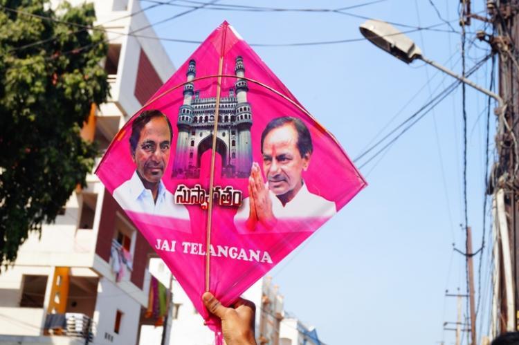 Its a bird its a plane no its Telangana Chief Minister staring down at you