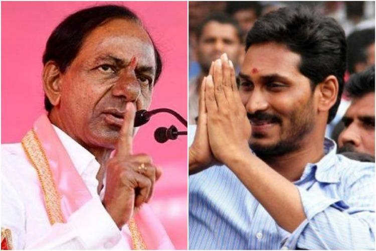 A collage of KCR and Jagan