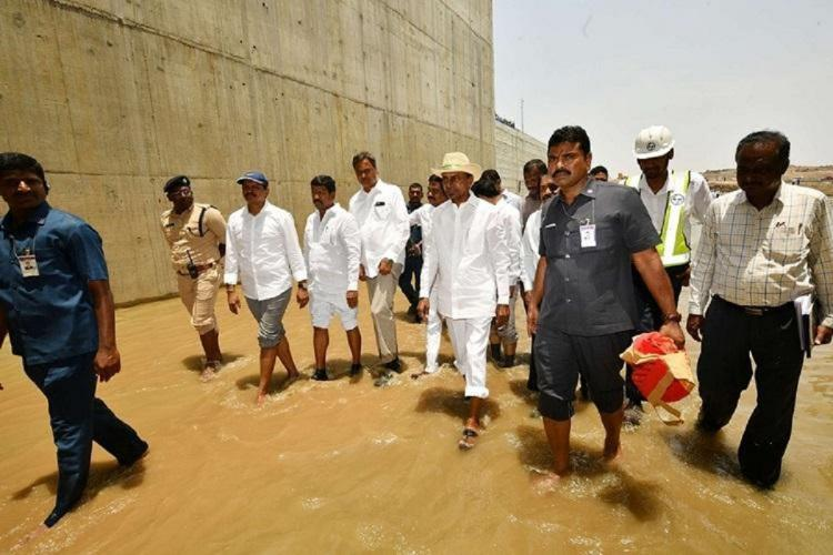 Telangana CM KCR inspecting the Medigadda barrage in 2019