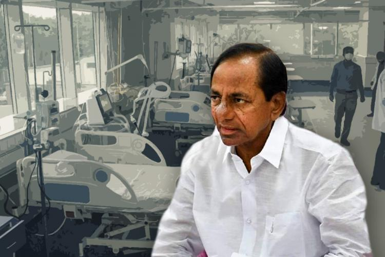 CM KCR dressed in white seated in front of a background which has hospital beds