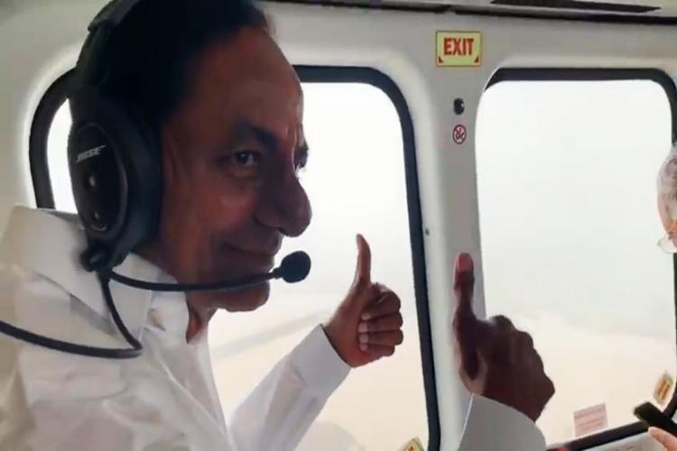 Telangana CM KCR inspects Kaleshwaram project flies over Godavari river