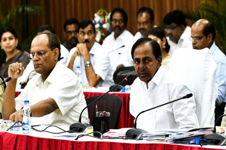 CM KCR and Chief Secretary Somesh Kumar in a press meet
