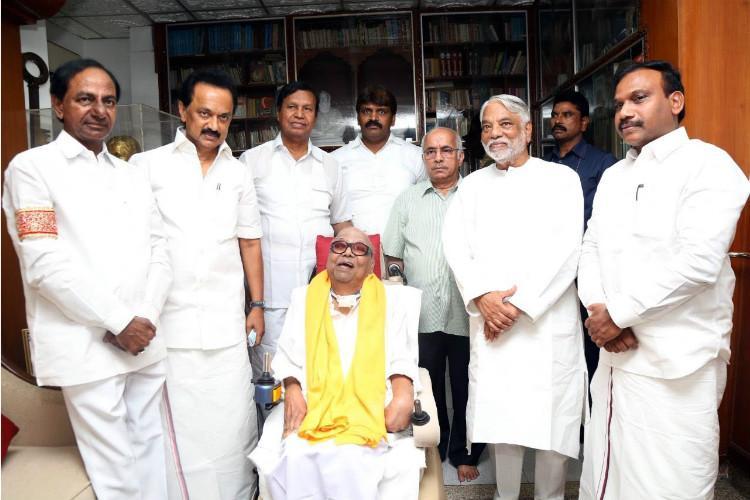 Photos KCR meets Karunanidhi Stalin discusses Federal Front to combat BJP Congress