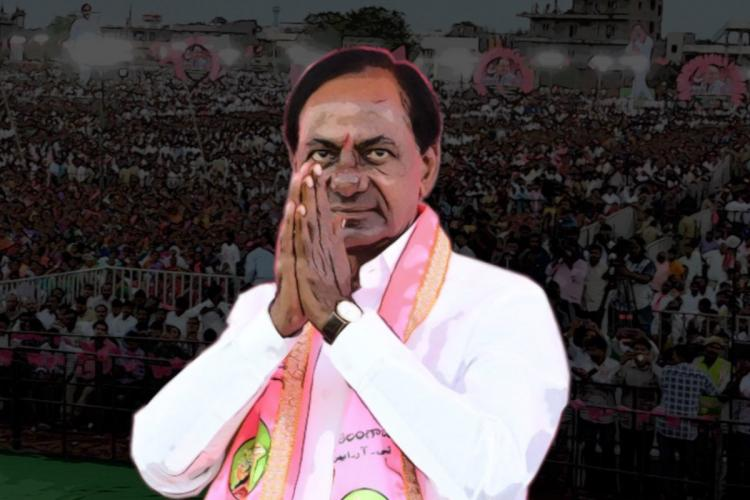 Telangana Chief Minister KCR with folded hands