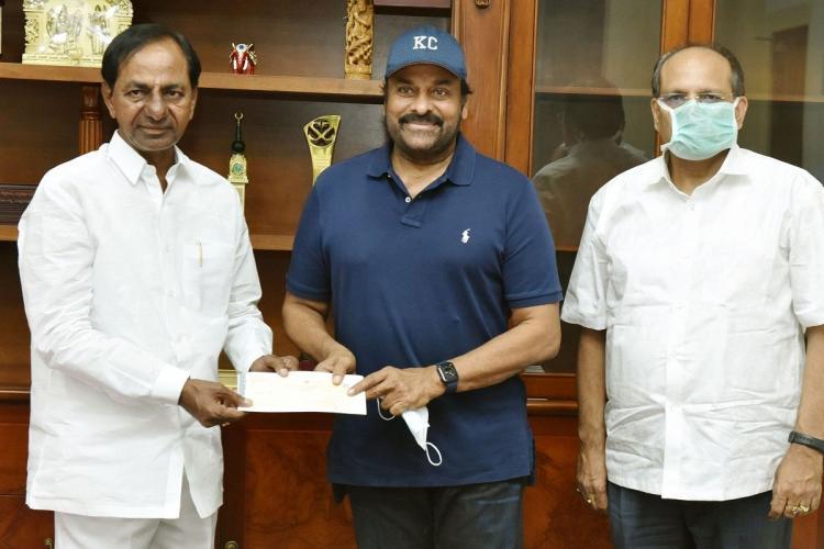 KCR and Telangana Chief Secretary Somesh Kumar meeting Chiranjeevi
