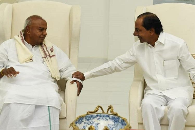 Former PM Deve Gowda calls on Telangana CM KCR says its a courtesy call