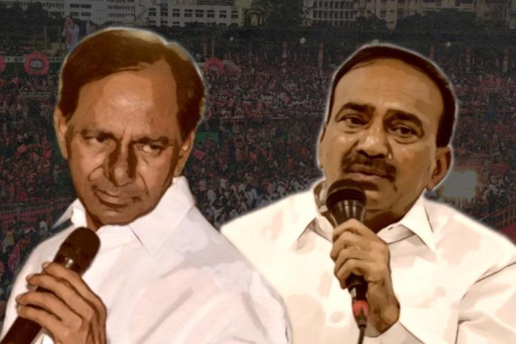 A collage of images of CM KCR and former Minister Eatala Rajender
