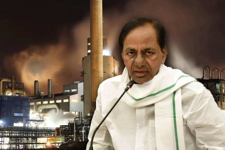 A collage of Telangana CM KCR and a factory in the background