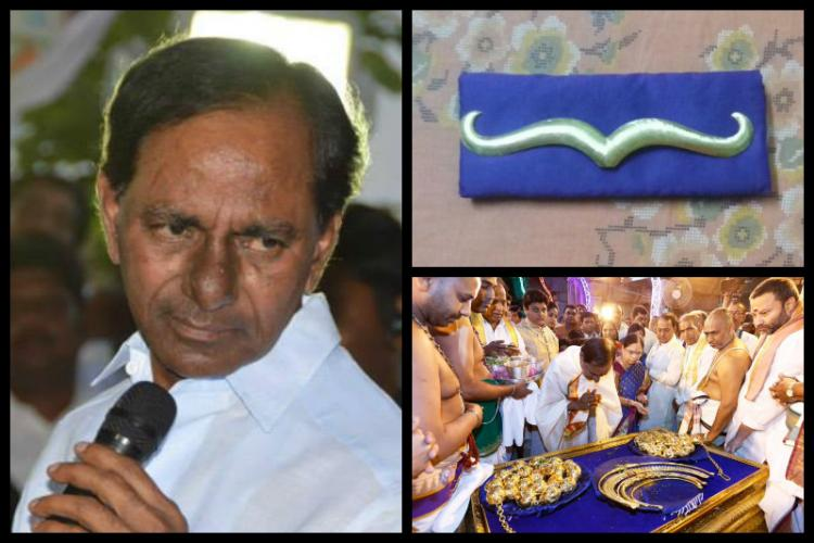 KCR continues thanksgiving trip despite criticism Gifts gold moustache to Telangana temple