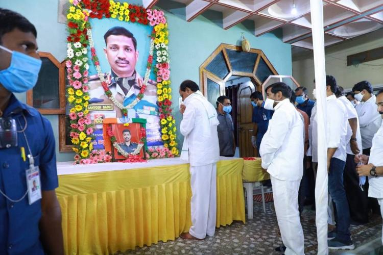 Telangana CM KCR pays his respects to Colonel Satish Babu