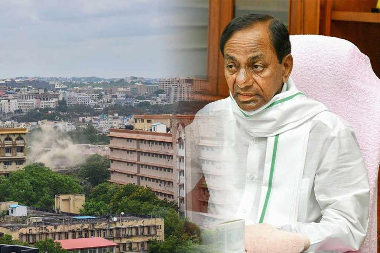 CM KCR on the right and secretariat on the left