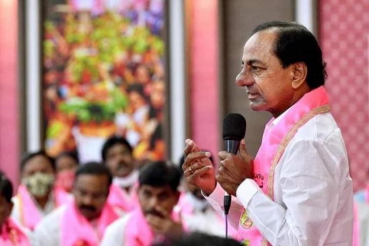 Telangana Chief Minister K Chandrasekhar Rao addressing TRS party leaders