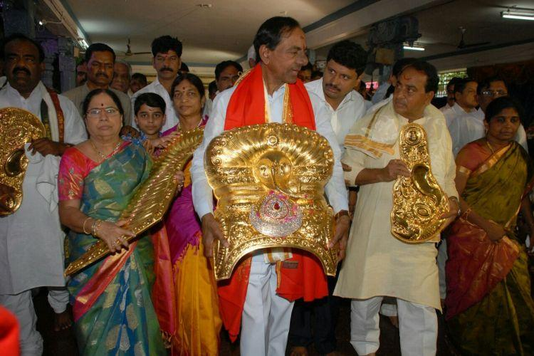 Not Telanganas crowning glory KCR spends Rs 3cr public money on crown for Durga temple