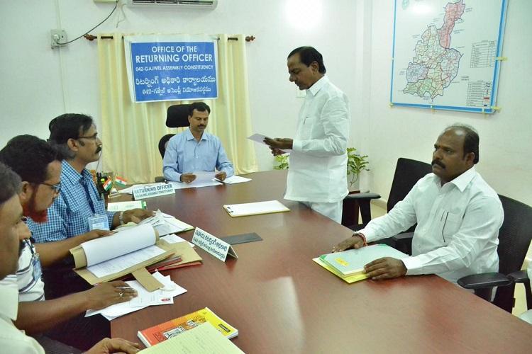 Telangana polls Caretaker CM and TRS chief KCR files nomination from Gajwel