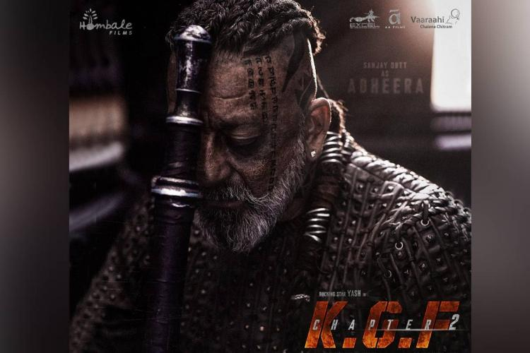 bollywood actor sanjay dutt leans against a sword in a teaser poster of the film KGF 2
