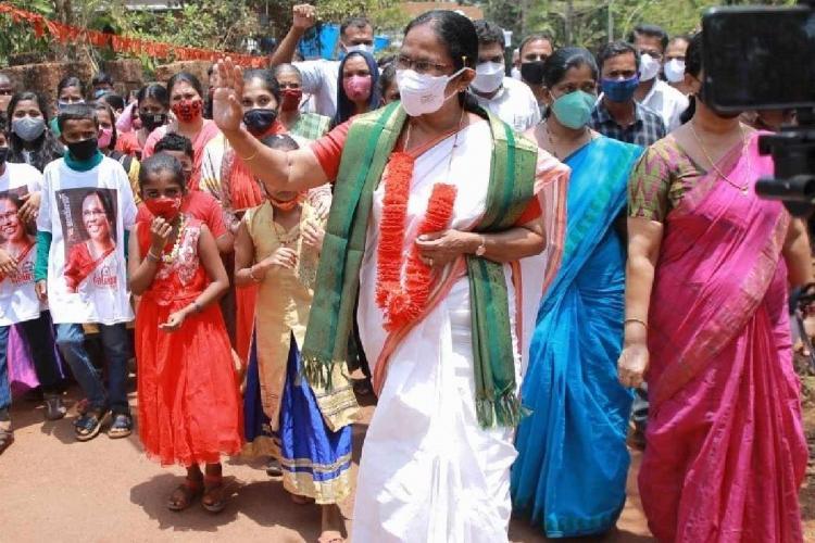 KK Shailaja in Kannur during election campaign