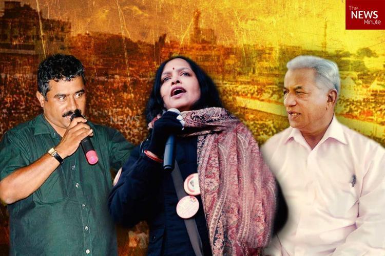 A collage of Karnataka activists KL Ashok Vidya Dinker and KS Bhagwan