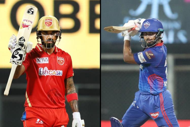 Collage of KL Rahul and Rishabh Pant both holding up bat in their respective IPL jerseys