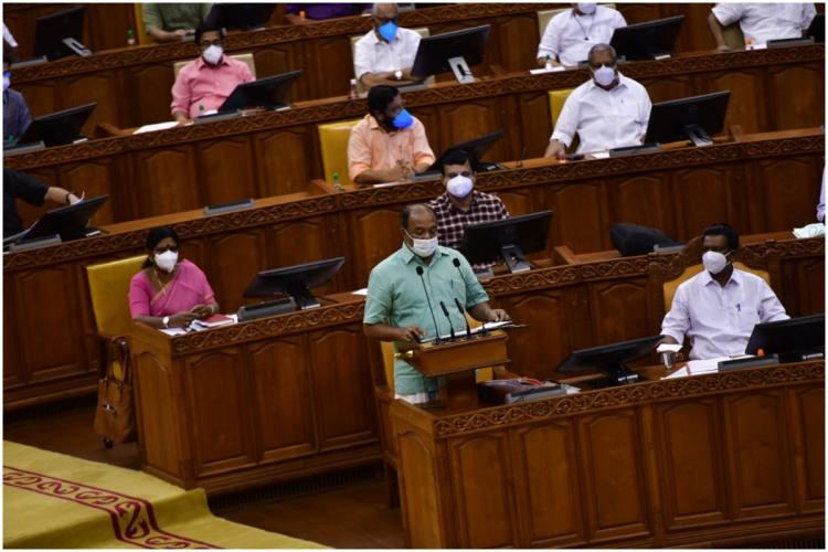 Kerala Finance Minister KN Balagopal presenting Budget for 2021 in the State Assembly
