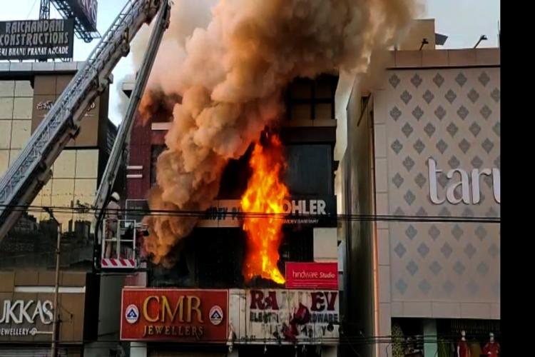 Fire accident at KPHB colony Hyderabad