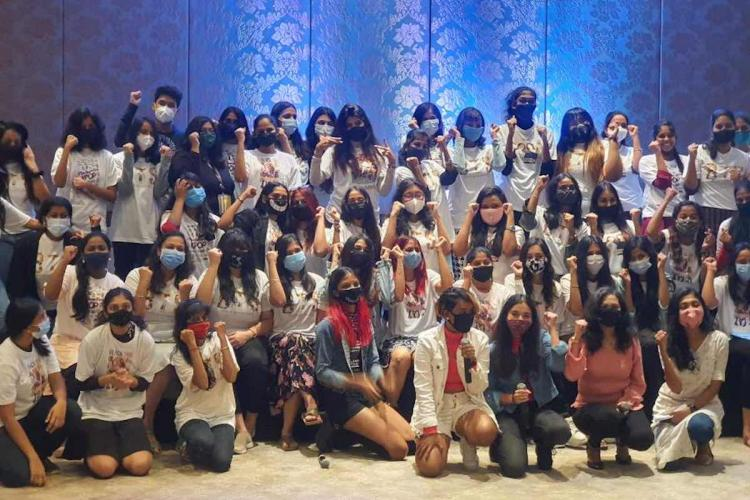 Group of youngsters with face masks at the Korean cultural event in Chennai 2020