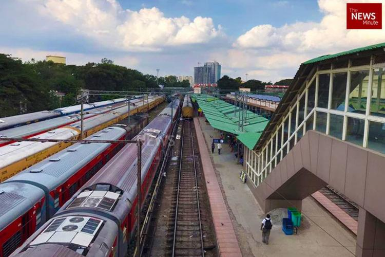 An aerial view of the Krantivira Sangolli Rayanna railway station in Bengaluru where a few trains can be seen stationed