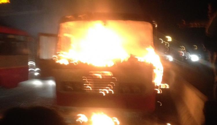 Bengaluru-bound government bus catches fire one woman killed