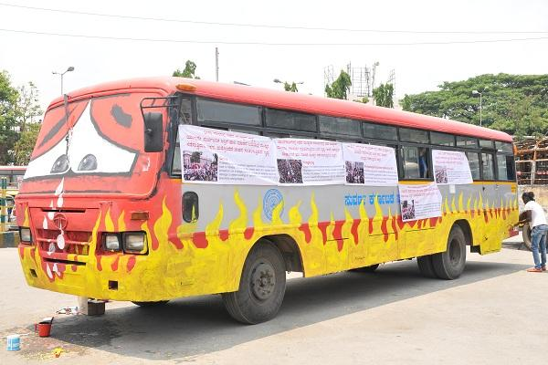 KSRTC holds funeral service for the buses gutted during protests display damaged vehicles