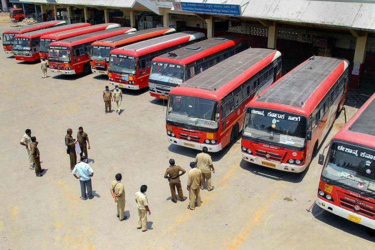 KSRTC buses lined up in Bengalurus Kempegowda Bus terminal