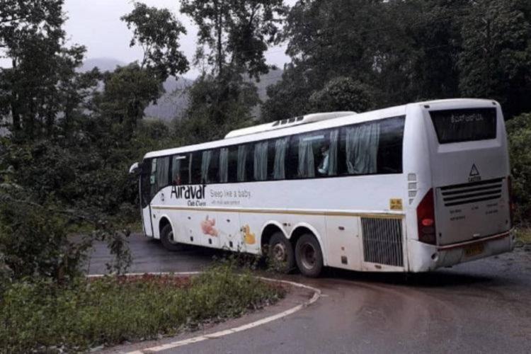 KSRTC bus navigating a hairpin bend