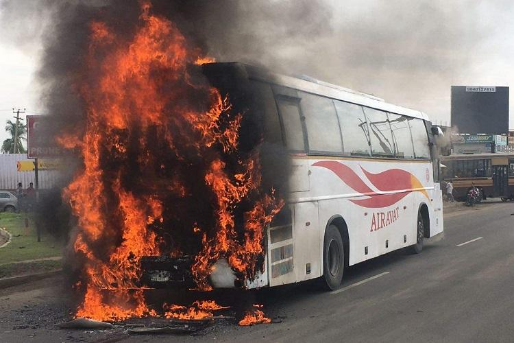 Close shave for 40 passengers as Bengaluru-Chennai KSRTC bus catches fire